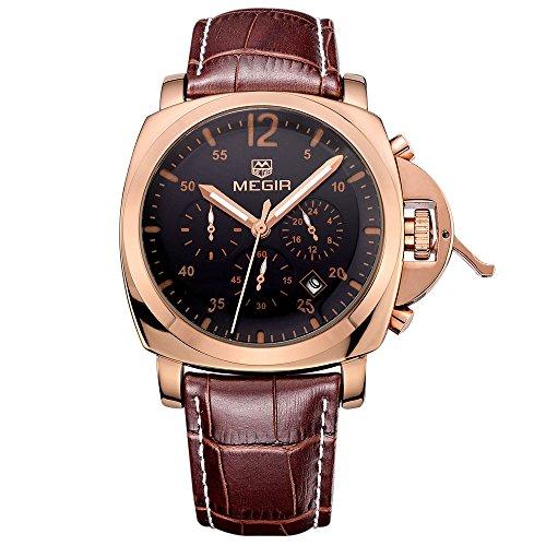 Megir Montres de sport pour homme analogique à quartz, cadran or rose, bracelet en cuir marron classique, chronomètre et imperméable
