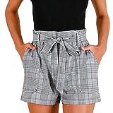 moonuy Été Confortable Femmes Stripe Pocket Loose Pantalon Lady Casual Taille Haute Summer Beach Shorts Pantalons Short Rayé à Carreaux Femme Short Rayé à pour Femme Rétro Hot Pants (Gris, L)