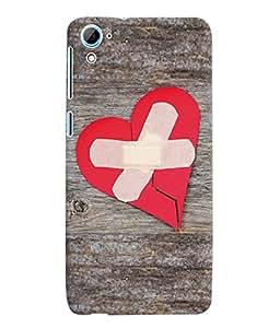 Fuson 3D Printed Bandaged Heart Designer Back Case Cover for HTC Desire 826 - D918