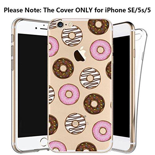 Custodia iPhone SE/5/5s [Pellicola Protettiva in Vetro Temperato], Yoowei® Design Colorato Cristallo Trasparente Ultra Sottile Morbido TPU Gel Case Cover per iPhone SE/5/5s 4.0 (Donuts) Donuts