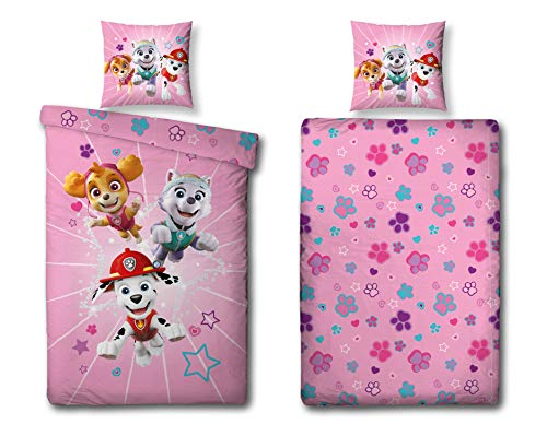 Character World Mädchen Bettwäsche Set Paw Patrol, 135x200 cm 80x80 cm, 100% Baumwolle, Burst, rosa, Sterne 114902