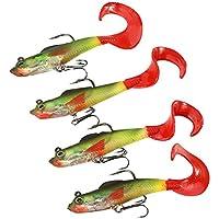 4Pcs - Trastos de Pesca de 90 mm - 9.5g Cebo de Cabeza de Plomo - Señuelos de Peces de Mar con Gancho de arpa