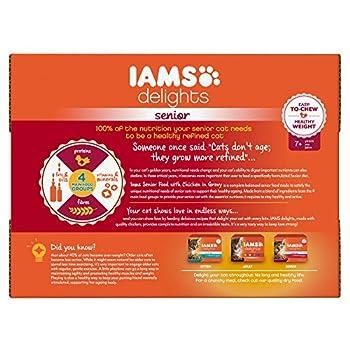 IAMS Senior Nourriture Humide en Sauce Poulet pour Chat Toutes les Races 12 Sachets x 85 g