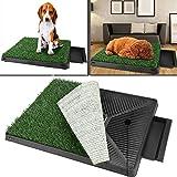 Katze Hundetoilette Welpentoilette mit Kunstrasen, Trainingsunterlage Indoor für Hunde Tier WC Gras Matte Pads 63 x 50 x 7cm (Grün)