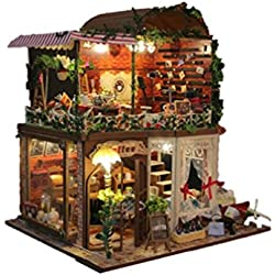 NWYJR Casa de muñecas Mini casa muebles Kit decoración casa de artesania muñecas de madera regalo muñeca LED casa