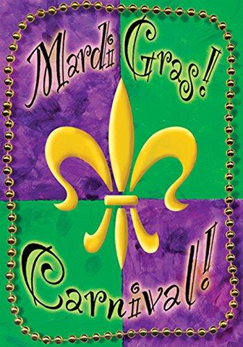 Toland Home Garten Mardi Gras Perlen 12,5 x 18 Zoll Deko Karneval Party Fleur de Lis Garten Flagge