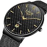 LIGE Herren Einfache Retro Analoge Quarzuhr Dünn Uhr mit Wasserdichter Edelstahl Mesh Armband 9867 Gold Schwarzes