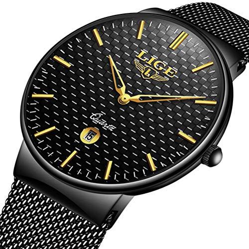 Montre homme,Montre quartz analogique Ultra mince simple Marque de luxe LIGE maille pour homme acier inoxydable noir mode Montre d'affaires