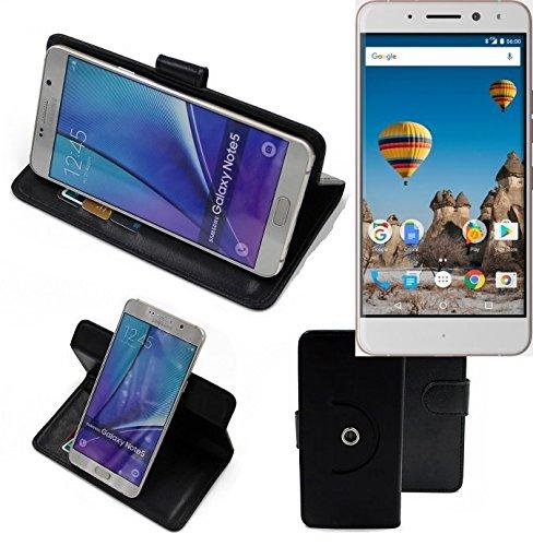 K-S-Trade® Hülle Schutzhülle Case Für -General Mobile GM 5 Plus- Handyhülle Flipcase Smartphone Cover Handy Schutz Tasche Bookstyle Walletcase Schwarz (1x)