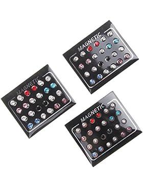 12pcs Gemischte Farbe Magneten Ohrringe Kein Durchdringen Ohrbolzen 5mm