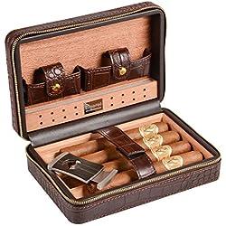 Volenx Humidor cave à cigares, cèdre Bois Humidor avec hygromètre et coupe-cigare, convient pour les voyages et les sorties -- capacité de 4 cigars