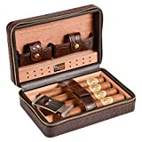 Volenx Humidor da viaggio con e tagliasigari in acciaio inossidabile per 4 Sigari, interno in legno di cedro, Marrone