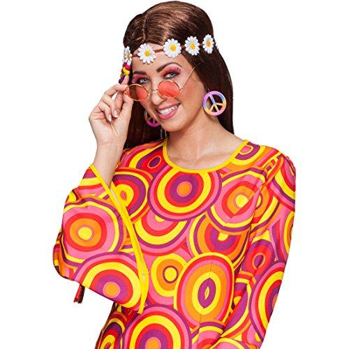 Hippie Set 70er Jahre Kostümset 3 tlg. Brille Haarband Ohrringe Flower Power Schmuck Set Peace Stirnband Sonnenbrille Creolen Mottoparty Kostüm Zubehör Karnevalskostüme Accessoires