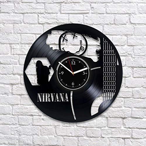 VBLSJ Nirvana Vintage Schallplatte Wanduhr Kurt Cobain Uhr Nirvana Art