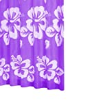 Ridder 423510-350 Duschvorhang Textil 180 x 200 cm, flowerpower lila inklusiv Ringe