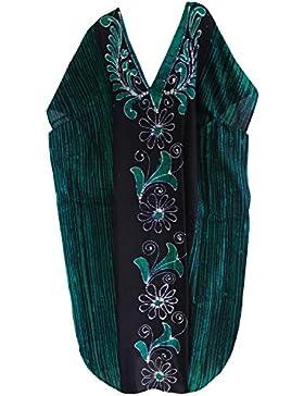 La Leela beachwear 100% cotone costumi da bagno salotto casuale delle donne di usura lungo caftano maxi vestito
