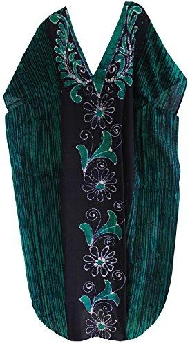 La Leela lose Abdeckung bis maxi langen Strandabnutzungs Puffärmeln Kleid Kaftan aus Baumwolle mit V-Ausschnitt Kleid Hellgrün 1