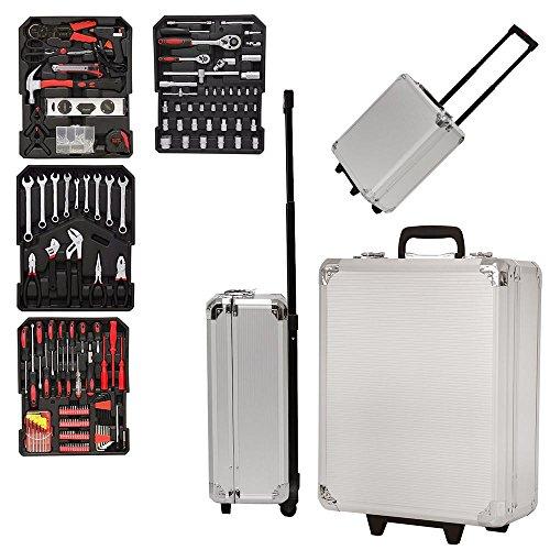 Grafner Werkzeugkoffer 399 teilig Werkzeugkasten Werkzeug Koffer Werkzeugtrolley Aluminium