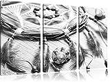 Traumfänger mit Federn Kunst B&W 3-Teiler Leinwandbild 120x80 Bild auf Leinwand, XXL riesige Bilder fertig gerahmt mit Keilrahmen, Kunstdruck auf Wandbild mit Rahmen, gänstiger als Gemälde oder Ölbild, kein Poster oder Plakat