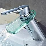 Auralum® Grifo de Lavabo Diseño Cristal Elegante Grifo de Baño Cocina Cascada Monocommando Cromo-plateada Latón y Vidrio (Tipo B)