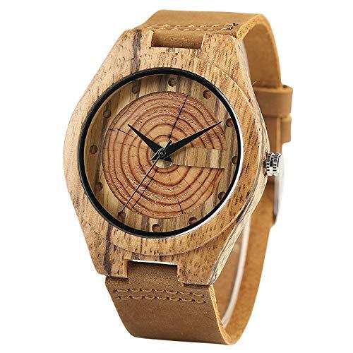 YLFDC Holzuhren Natürliche hölzerne lederne Armband-Uhr-Mann-Frauen-Art- und Weisebambusholz-Uhr-Korn-Kreis-wörtliche Paare (Hölzerne Männer Armbänder)