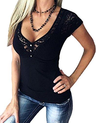 Minetom Damen Sexy V-Ausschnitt T-Shirt mit Spitze A Schwarz DE 46 (Ames Lange Ärmel)
