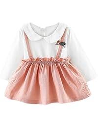 Hffan Baby Mädchen Langarm Kleider 6M-24M Baumwolle mit Kragen Kleid  Prinzessin Rock Kleines Kleid Kurz Kleid… c14cca0c9c