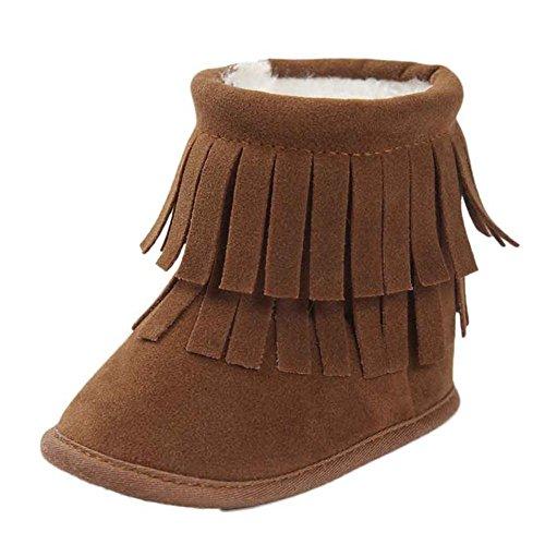 WOCACHI Baby Warmhalte Double-deck Quasten weiche Sohle Snow Boots Soft Krippe Schuhe Kleinkind Stiefel Krabbelschuhe (12cm, Rot) Khaki54