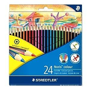 Staedtler - Noris Colour 185 - Etui Carton 24 Crayons de Couleur Wopex Assortis