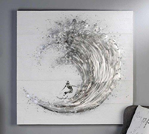 Casablanca - Bild Surfer Leinwand weiß/grau/silberfarben Wellenreiter Aluminium Applikationen auf Holzplanken gearbeitet