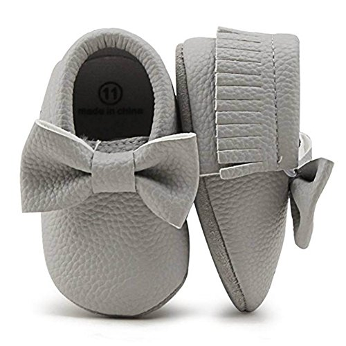 OOSAKU Zapatos para niñas niño Zapatos recién Nacidos para Cuna con Suela Blanda PU/Borla de Cuero...