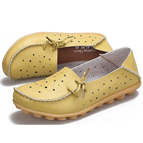Vogstyle Mocassin Femme Casuel Chaussures Loisir Plat de Marche Ballerine 33-44 Vert-jaune