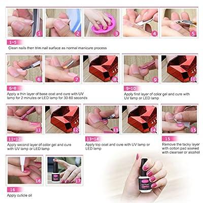 CLAVUZ Base and Top Coat Set Soak Off Gel Nail Polish No Wipe Top UV LED Manicure
