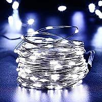 NEXVIN Cadena Solar de Luces de Alambre de Cobre 10M 100 LED,Guirnalda de Luces Solar,Luces Solares de Hadas para la Navidad, Jardín, Boda, Fiesta (Blanco)