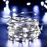 Qedertek Solar Kupferdraht Lichterkette, Weihnachten Lichterkette mit 100 LED Weiß 10m 8 Modi Wasserdicht Weihnachtsbeleuchtung für Außen Garten Party Hochzeit Weihnachten Deko