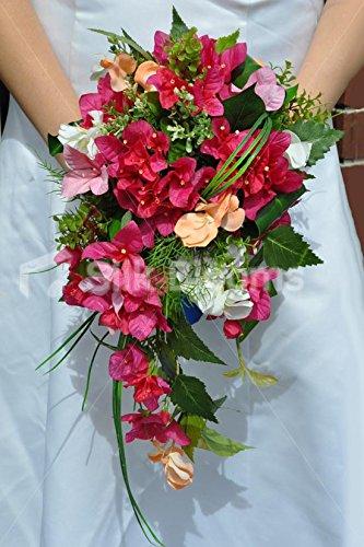 Gorgeous Künstliche Pink Bougainvillea Blume Cascade Bridal Bouquet mit Beargrass