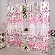 200 cm x100 cm Window pink Curtain Door Tulle Voile Room Balcony Sheer Panel Curtain