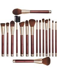 Pinceaux Maquillage Anjou Kit de 16pcs, Doux et Sans Cruauté, Poils Synthétiques, Design Or Rose, Pochette Élégante Cuir PU Incluse - Vintage Rouge