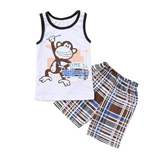 LENGIMA Niedliche Monkey Letter T-Shirt Weste Tops + Plaid Shorts 4. Juli Outfits Set Sommer Baby Boys (Color : White, Size : 3T)