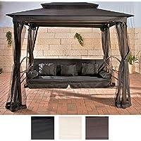 CLP Magnifique balancelle de LUXE KENIA avec fonction lit à 3 places, coussins de siège de 8 cm inclus, noir