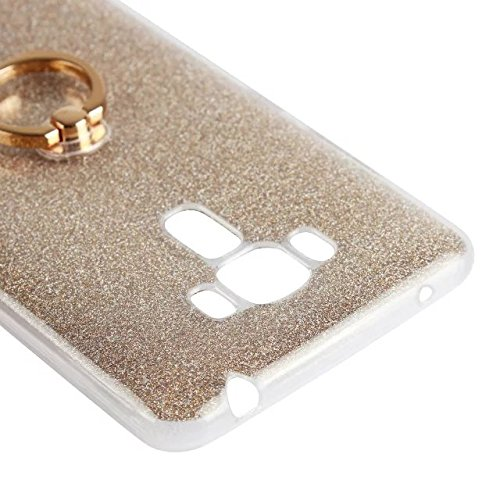 Luxus Bling Sparkle Style Case, Soft TPU [Silikon] Flexible Glitter Rückentasche mit Fingerring Stand für Asus ZC551KL ZenFone 3 Laser ( Color : White ) Pink