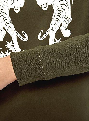 oodji Ultra Damen Lässiges Sweatshirt mit Druck Grün (6810N)