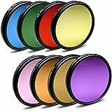52mm 9in1 pack de filtros de color para cámaras Nikon D40 | D60 - Canon EOS M - Panasonic Lumix DMC-G1 - Pentax K-01 - Samsung GX-1L - Fuji X20 - Olympus OM-D E-M1 + paño de limpieza de microfibra
