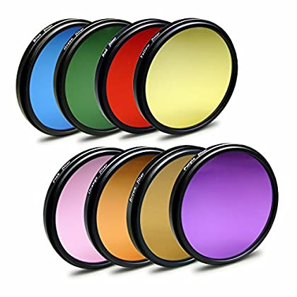 58mm 9in1 pack de filtros de color para cámaras Nikon Df - Canon Rebel T1i | T2i - Canon EOS 1DX | 5D Mark II - Panasonic Lumix DMC-GH4 - Samsung Galaxy NX - Fuji X-A1 - Olympus E-420