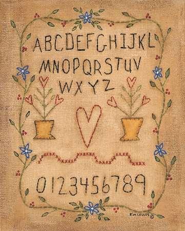 ABC di Lewis, disponibile Kim-Stampa artistica su tela e carta, Tela, MEDIUM (12 x 15 (Folk Primitive Decor)