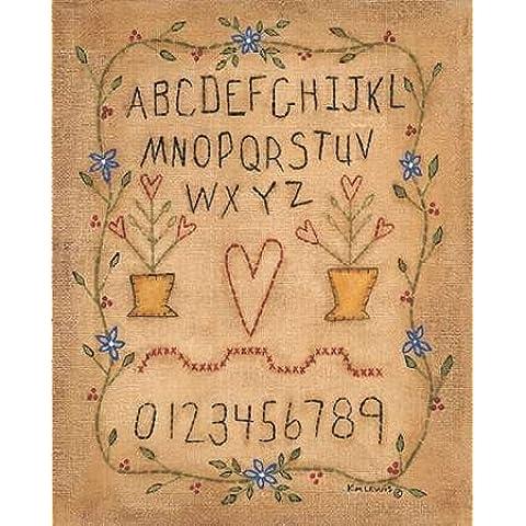 ABC by Lewis, Kim Stampa Giclée su tela, in carta e decorazioni disponibili, Tela, SMALL (Folk Primitive Decor)