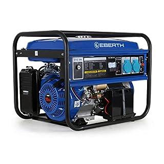 EBERTH 5500 Watt Benzin Stromerzeuger (E-Start, Automatischer Voltregler AVR, 13 PS Benzinmotor, 4-Takt, luftgekühlt, Ölmangelsicherung, Seilzugstart, 1-Phase, 2x 230 V, 1x 12 V, Voltmeter)