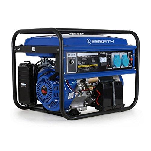 Eberth generatore di benzina da 5500 watt (motore a benzina 13 hp, 4 tempi, monofase, 2x 230 v, 1x 12 v, e-start)