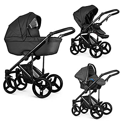 Venicci Asti 3-in-1 Travel System - Graphite- with Carrycot + Car Seat + Changing Bag + Footmuff + Raincover + Mosquito Net + 5-Point Harness and UV 50+ Fabric + Car Seat Adapters + Cup Holder