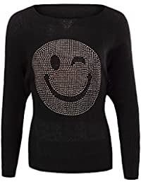 6965cae0812e Diva-Jeans N438 Damen Winter Pullover Batwing Smiley Pulli Strick Smily Sweater  Shirt